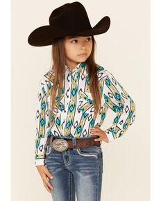 Wrangler Girls' Teal & Yellow Aztec Stripe Long Sleeve Snap Western Shirt , Multi, hi-res