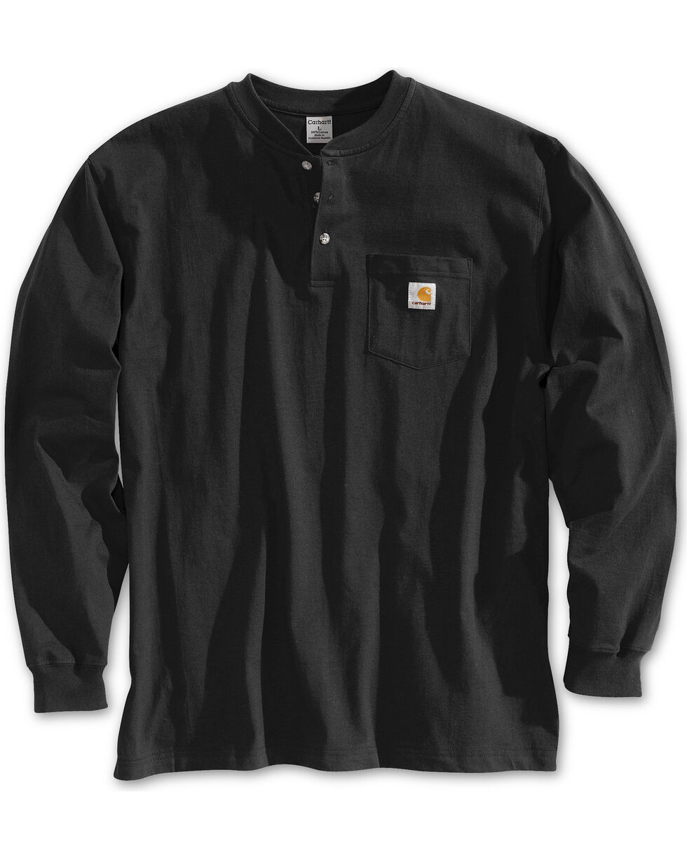 Carhartt Long Sleeve Work Henley Shirt - Big & Tall, Black, hi-res