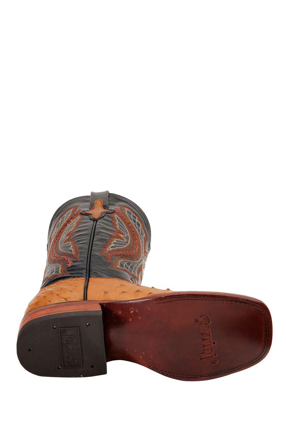 Ferrini Full Quill Ostrich Cognac Cowgirl Boots - Square Toe, Cognac, hi-res