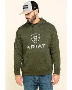Ariat Men's Green Rough Grain Logo Graphic Hooded Sweatshirt , Green, hi-res