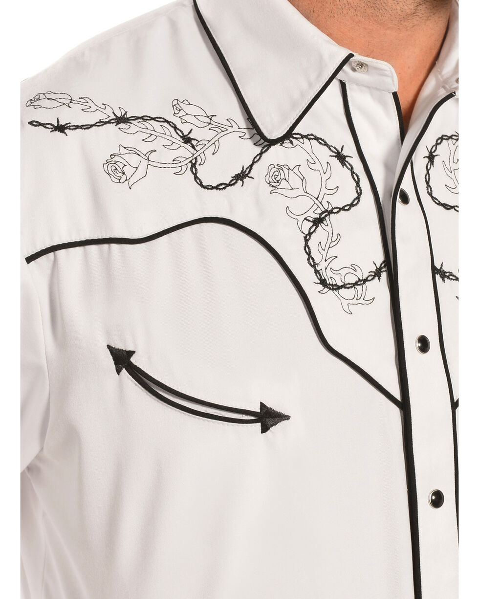 Scully Men's Embroidered Skull with Roses Western Shirt, White, hi-res