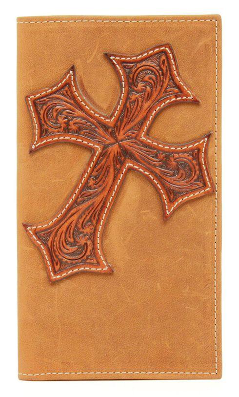 Nocona Tooled Cross Overlay Rodeo Wallet, Aged Bark, hi-res