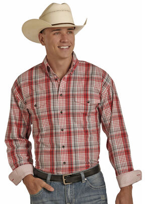 Panhandle Men's Poplin Twill Plaid Shirt - Big and Tall , Red, hi-res
