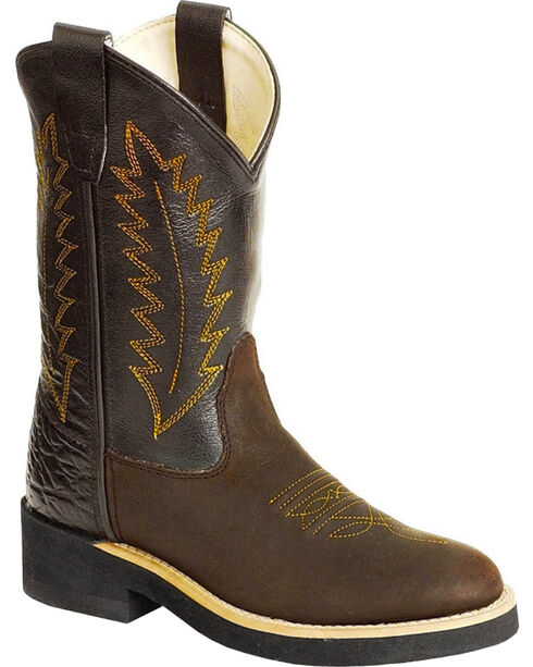 Old West Youth Cowboy Boots - Round Toe, Distressed, hi-res