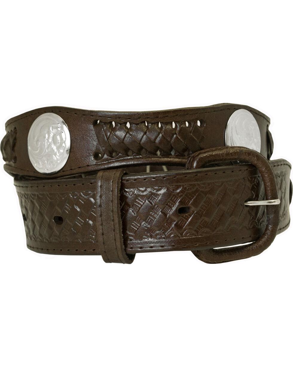 Western Express Men's Silver Concho Belt - Big, Brown, hi-res