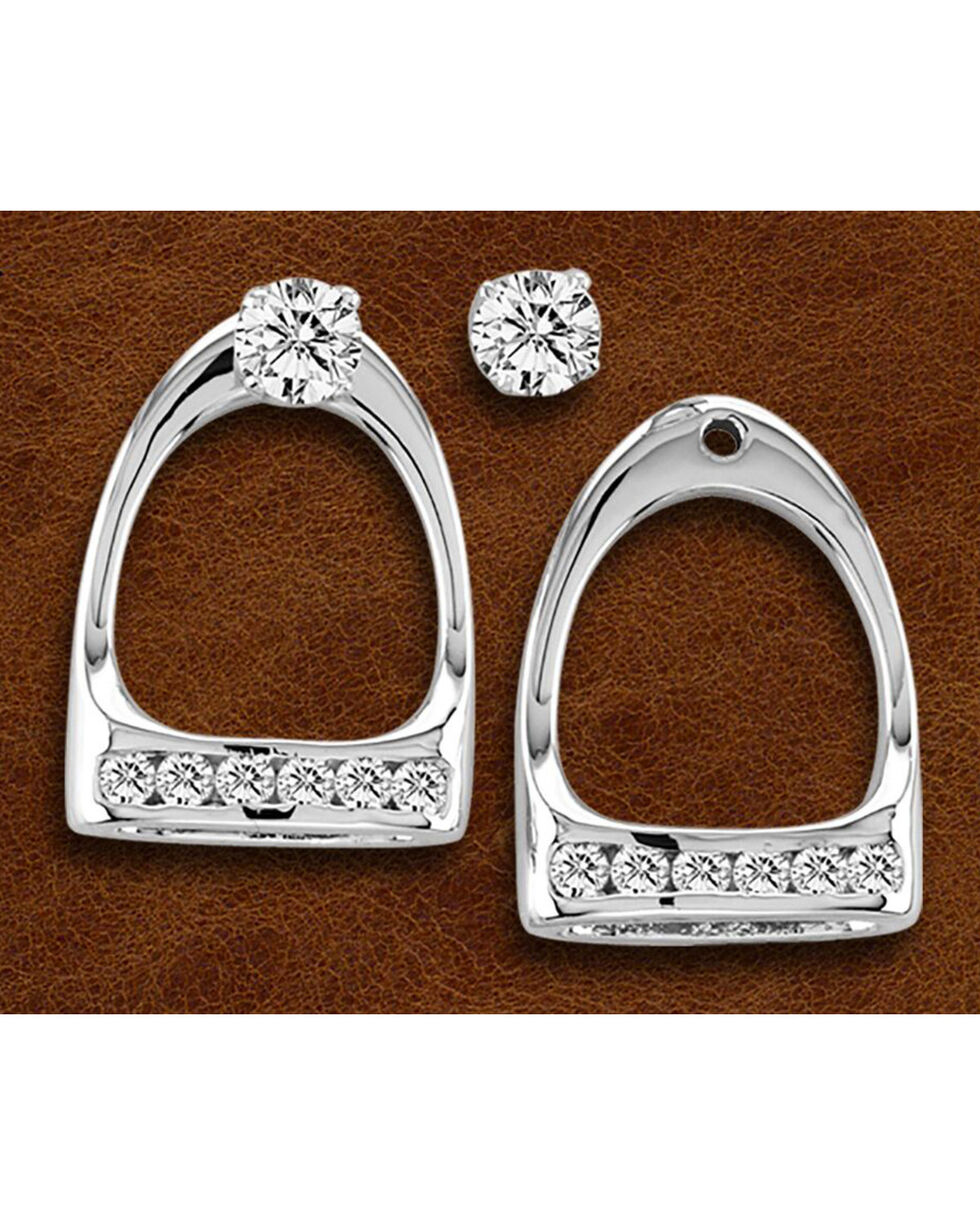 Kelly Herd Sterling Silver Large English Stirrup Earring Jackets with Studs, Silver, hi-res