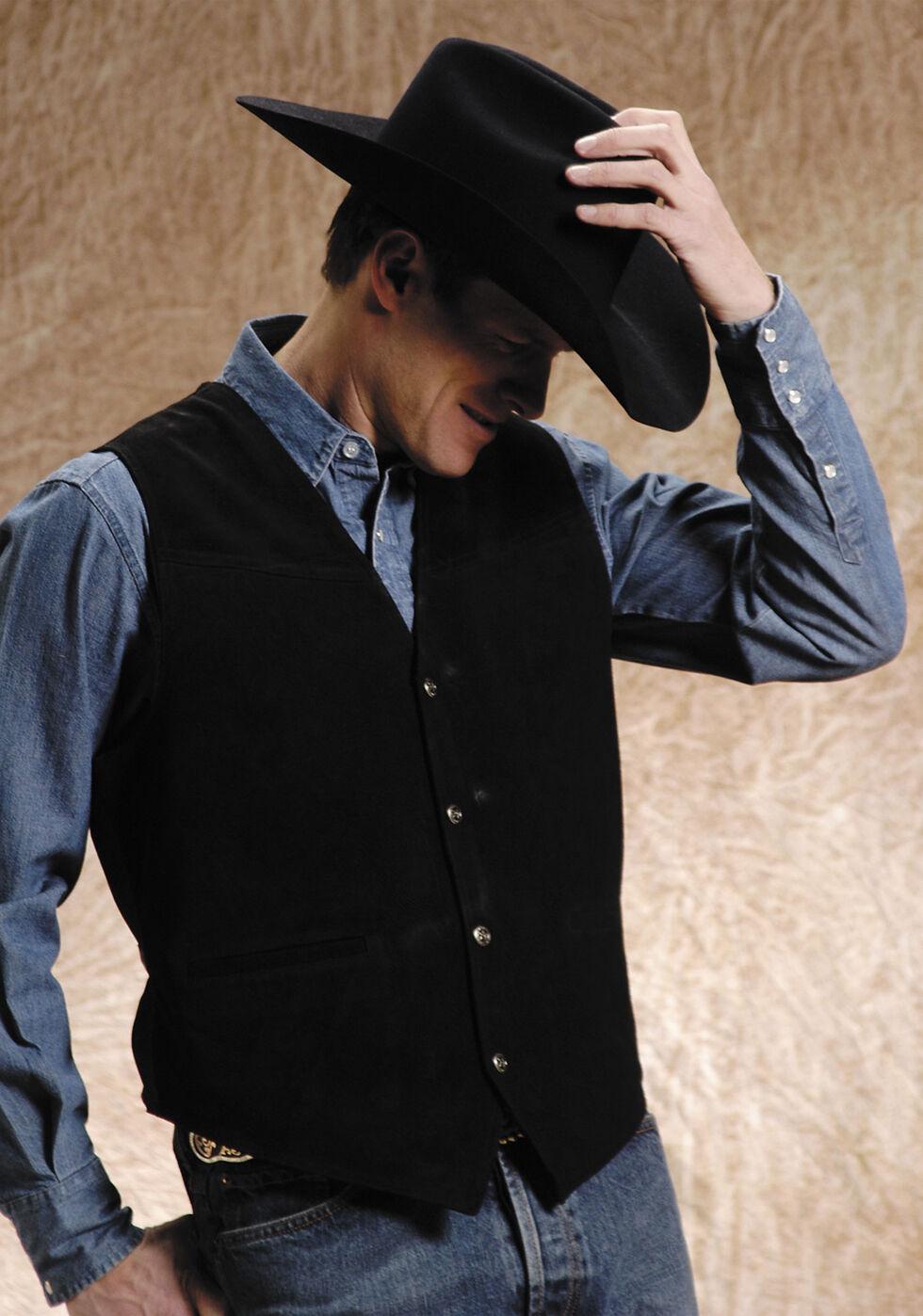 Roper Suede Buckle Tie Vest , Black, hi-res