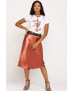 Nikki Erin Women's Satin Midi Solid Skirt, Rust Copper, hi-res