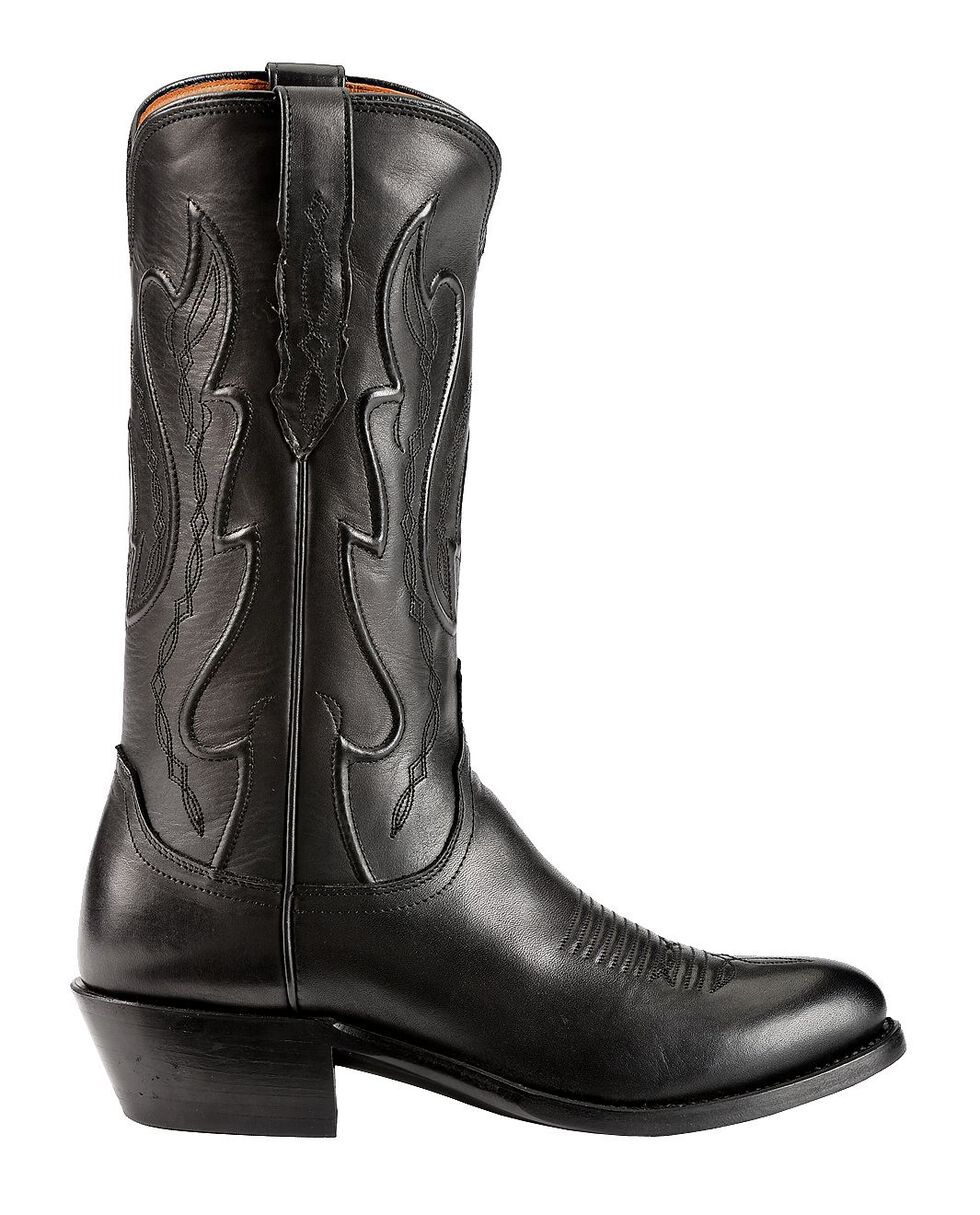Lucchese Handmade 1883 Western Ranch Hand Cowboy Boots - Round Toe, Black, hi-res