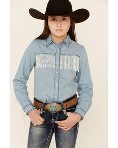 Roper Girls' Light Denim Fringe Trimmed Long Sleeve Snap Western Shirt , Blue, hi-res
