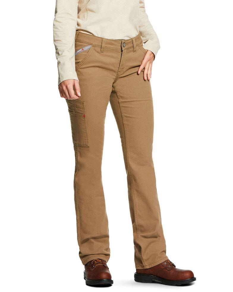Ariat Women's FR Duralight Stretch Canvas Straight Leg Pants, Beige/khaki, hi-res