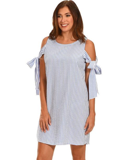 Ces Femme Women's Blue Tie Shoulder Shift Dress , Blue, hi-res