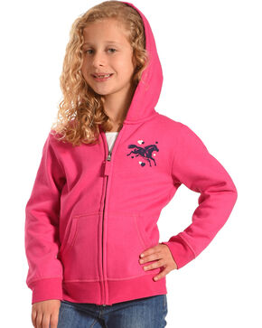 Farm Girl Girls' Pink Running Horse Hoodie , Pink, hi-res