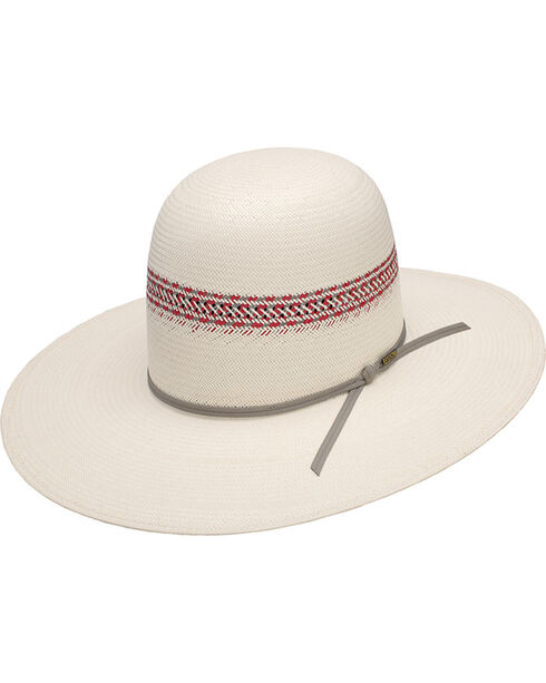 Resistol Red River Ivory Open Crown Straw Hat, Red, hi-res