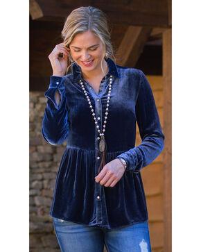 Ryan Michael Women's Silk Velvet Shirt , Navy, hi-res