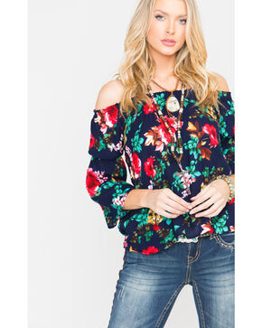 Panhandle Women's Floral Print Crinkle Off-the-Shoulder Peasant Top, Navy, hi-res