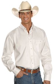 George Strait by Wrangler Men's Black Solid Long Sleeve Western Shirt, White, hi-res