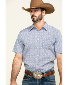 Gibson Men's Kinfolk Geo Print Short Sleeve Western Shirt , Navy, hi-res