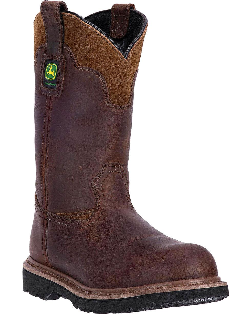 """John Deere Men's 11"""" Dip Top Pull On Western Work Boots - Round Toe, Brown, hi-res"""