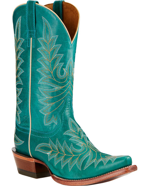 Ariat Brooklyn Cowgirl Boots - Snip Toe , Turquoise, hi-res