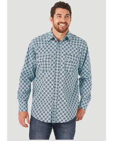 Wrangler Men's Silver Edition Turquoise Aztec Stripe Long Sleeve Snap Western Shirt , Turquoise, hi-res