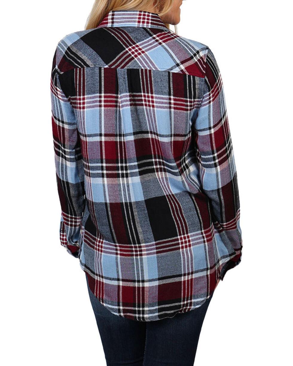 Shyanne Women's Button Sides Plaid Long Sleeve Shirt, Navy, hi-res
