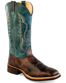 Old West Men's Faded Shaft Embroidery Western Boots - Wide Square Toe, Brown, hi-res