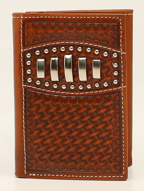 Ariat Basketweave Studded Concho Trifold Wallet, Tan, hi-res