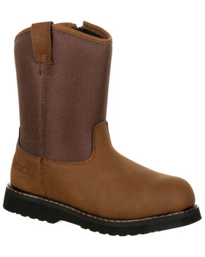 Rocky Boys' Lil Ropers Outdoor Boots - Round Toe, Dark Brown, hi-res