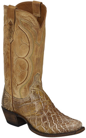 Lucchese Handmade Tan Van Giant Gator Cowboy Boots - Square Toe  , Tan, hi-res