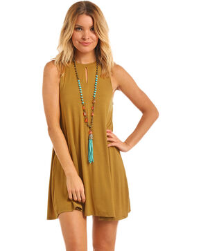 Panhandle Women's Gold Front Keyhole Knit Swing Dress, Gold, hi-res