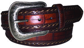 G Bar D Men's Brown Croc Print Belt, Brown, hi-res