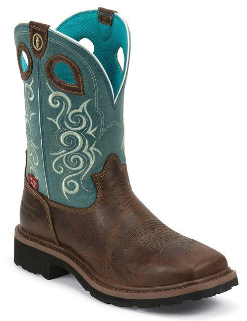 Tony Lama 3R Work Boots - Square Toe, Brown, hi-res