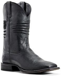 Ariat Men's Circuit Patriot Western Boots - Wide Square Toe, Black, hi-res
