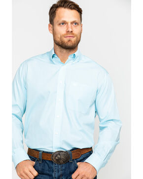 Ariat Men's Pintpoint Solid Long Sleeve Western Shirt , Blue, hi-res