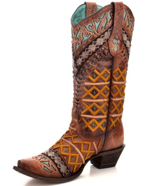Corral Women's Cognac Embroidered & Studded Cowgirl Boots - Snip Toe, , hi-res