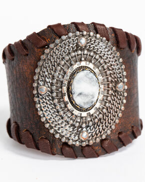 Idyllwind Women's Oval Medallion Woven Edge Cuff, Brown, hi-res