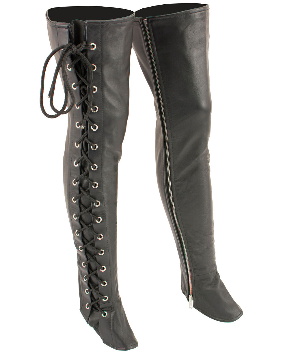 Milwaukee Leather Women's Thigh High Side Lace Leggings, Black, hi-res