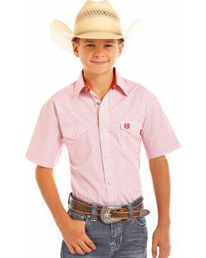 Panhandle Boys' Red Poplin Print Shirt , Red, hi-res