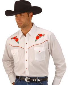 Ely Cattleman Embroidered Rose Design Western Shirt, White, hi-res