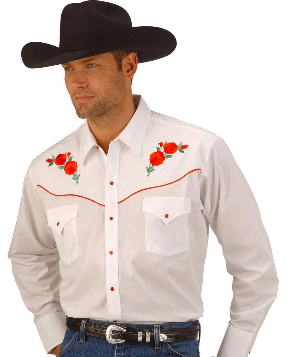 Ely Cattleman Embroidered Rose Design Western Shirt, White, hi-res
