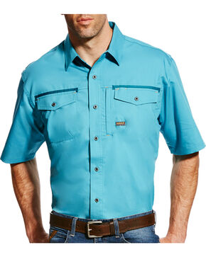 Ariat Men's Rebar Short Sleeve Work Shirt - Big & Tall, Teal, hi-res