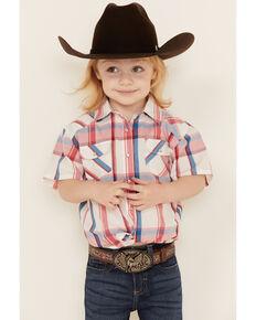 Shyanne Toddler Girls' White Plaid Short Sleeve Tie-Front Western Shirt , White, hi-res