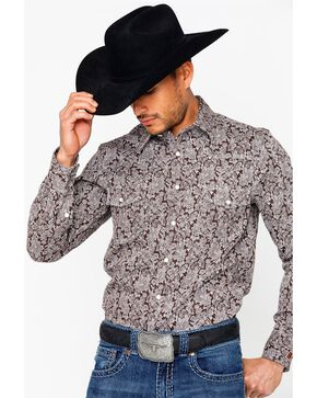 Rock & Roll Cowboy Men's Fire Resistant Printed Twill Shirt , Brown, hi-res