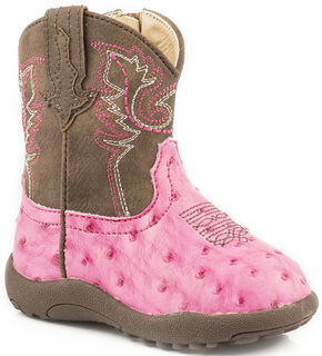 Roper Infant Girls' Pink Ostrich Print Faux Leather Booties, Pink, hi-res