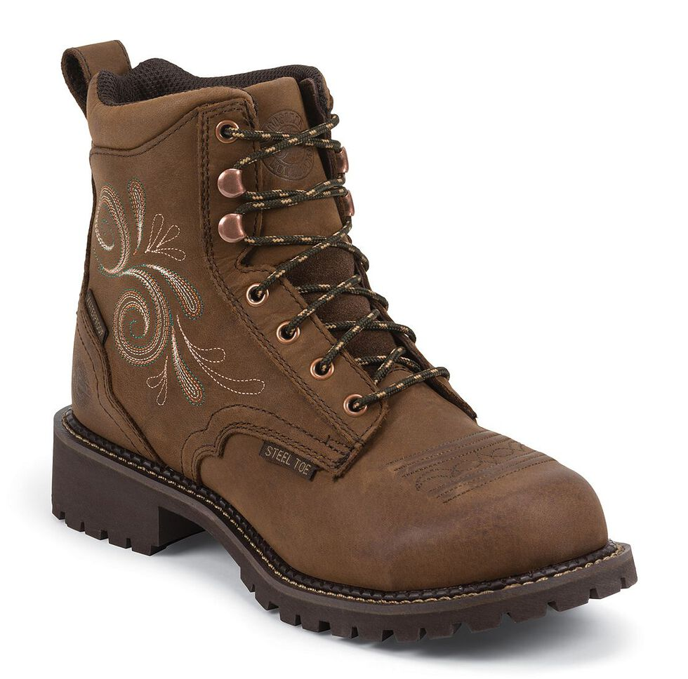 "Justin Gypsy Women's 6"" Katrina EH Waterproof Lace-Up Work Boots - Steel Toe, Aged Bark, hi-res"