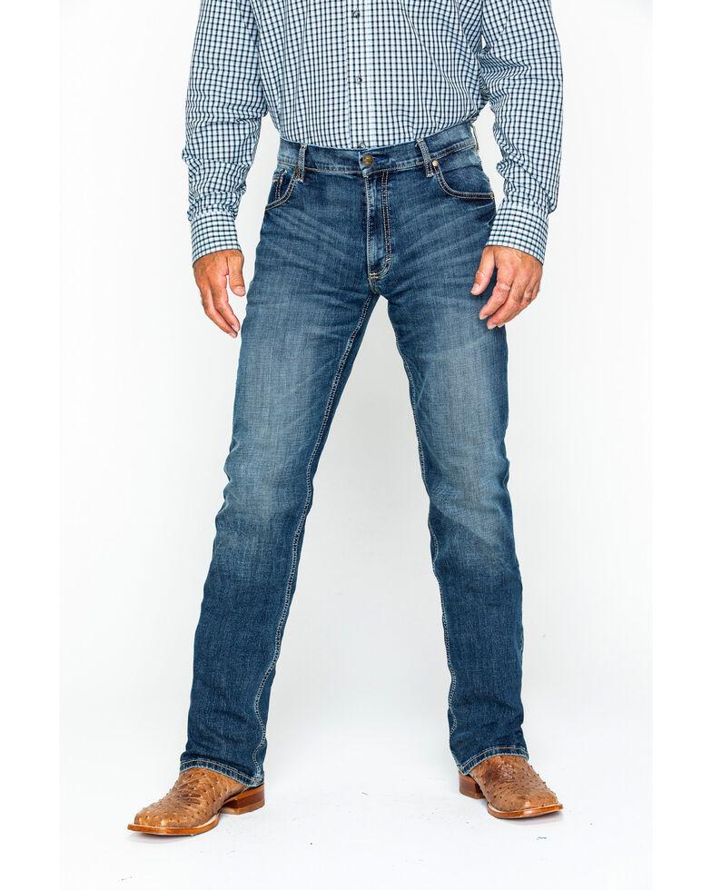 Wrangler Men's Layton Retro Slim Fit Bootcut Jeans, Denim, hi-res