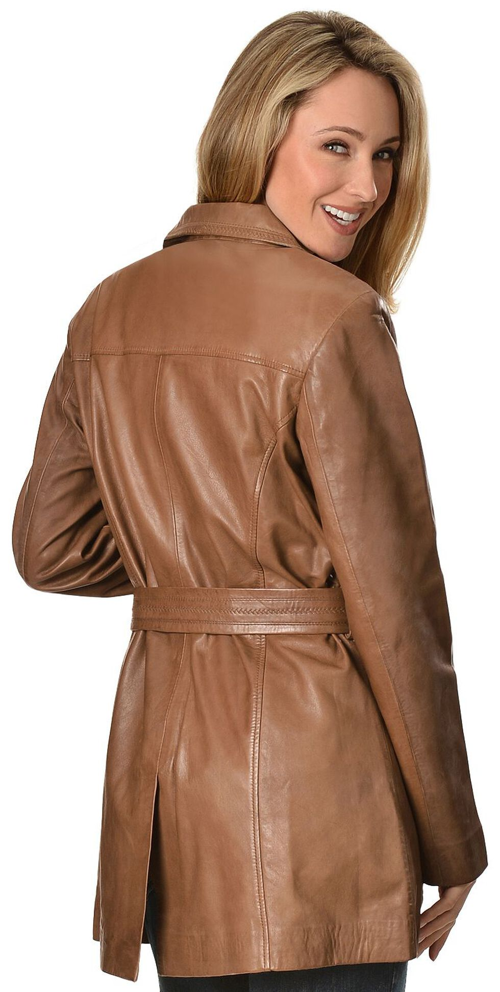 Scully Long Belted Leather Jacket, Brown, hi-res