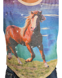 Rock & Roll Cowgirl Girls' Horse Graphic Long Sleeve Shirt , White, hi-res
