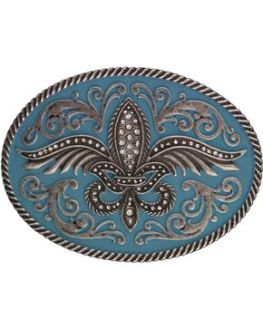 Rock 47 by Montana Silversmiths Winged Fleur de lis Belt Buckle, Silver, hi-res